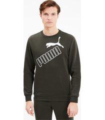 big logo sweater voor heren, groen, maat l | puma