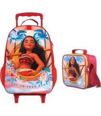 kit mochila princesa moana de rodinhas com lancheira térmica