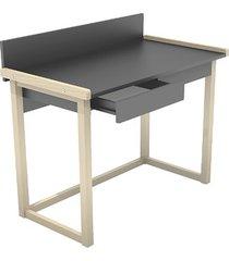 kolorowe biurko z szufladami z wysuniętym blatem