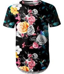 camiseta masculina longline swag floral jardim e beija-flor - preto - masculino - poliã©ster - dafiti