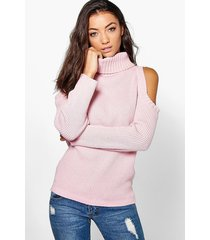 tall high neck cold shoulder sweater, blush