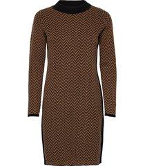 dress knitwear kort klänning brun taifun