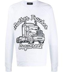 dsquared2 mother trucker logo sweatshirt - white