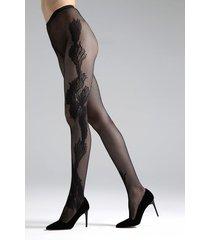 natori peacock feather net tights, women's, black, size l natori