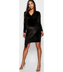 maternity velvet plunge ruched side midi dress, black