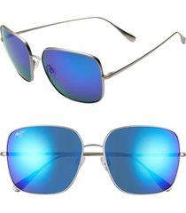 women's maui jim triton 61mm polarizedplus2 mirrored square sunglasses - titanium/ blue hawaii