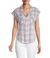 for the republic women's plaid high-low shirt - white tan - size xs