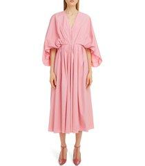 women's roksanda gathered cape cotton poplin midi dress