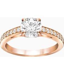 anello attract round, bianco, placcato oro rosa