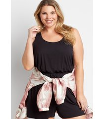 maurices plus size womens black drawcord pocket sleeveless romper