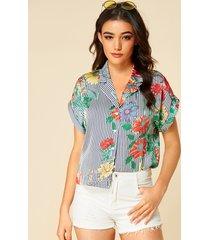 yoins blusa azul marino con cuello de solapa y estampado floral a rayas