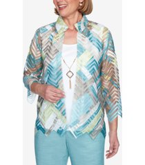 alfred dunner three quarter sleeve zigzag woven two-for-one top with detachable necklace