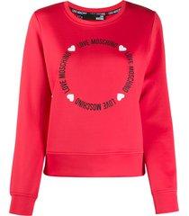 love moschino round lettering logo sweatshirt - red