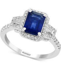 gemstone bridal by effy sapphire (1-1/2 ct. t.w.) & diamond (3/8 ct. t.w.) engagement ring in 18k white gold