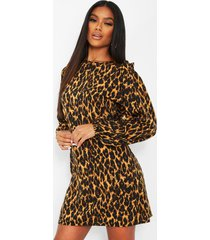 leopard print ruffle detail shift dress, brown