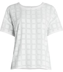 eileen fisher women's fil coupé organic cotton top - ivory - size l