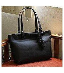leather shoulder bag, 'black delight' (mexico)