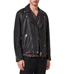 men's allsaints milo leather biker jacket, size xx-large - black