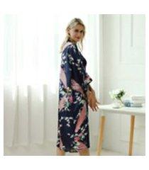moda estilo longo floral impresso mulheres noite robe moda veste de banho-g