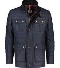 donkerblauwe jas bugatti opstaande kraag