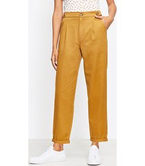 loft button tab tapered pants in twill