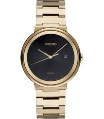 seiko men's solar essentials gold-tone stainless steel bracelet watch 40mm
