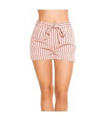 sexy zakelijke uitstraling shorts gestreept met strik roze