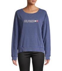 tommy hilfiger sport women's graphic cotton sweatshirt - deep blue - size xs