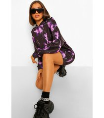oversized bliksemschicht sweatshirt jurk, purple