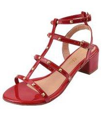sandália salto grosso bloco rosa chic calçados gladiadora spike tachas vermelha