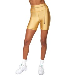weworewhat women's high-waist belted bike shorts - gold - size l