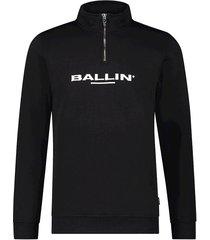 ballin amsterdam half rits embroidery logo sweater