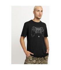 camiseta masculina controle playstation manga curta gola careca preta