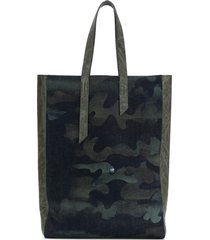 mr & mrs italy camouflage-print tote - blue