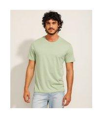 camiseta masculina básica manga curta gola careca verde claro