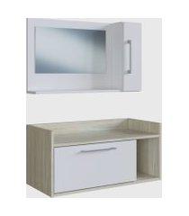conjunto de balcáo e espelheira p/ banheiro aiden branco e madeirado claro e estilare móveis