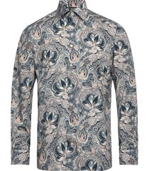 bold paisley print shirt - contemporary fit overhemd casual blauw eton