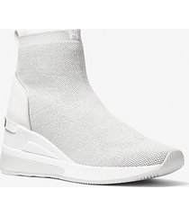 mk sock sneaker skyler in maglia stretch metallizzata - light slate - michael kors