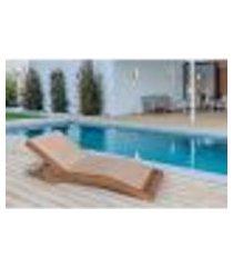 espreguiçadeira verano em madeira estofada desmontável/reclinável - bege