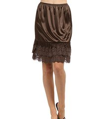 melody womens lace extender slip skirt half slip (medium, chocolate brown )