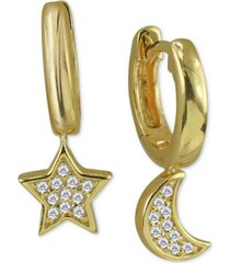 argento vivo cubic zirconia small star & moon dangle hoop earrings in 18k gold-plated sterling silver, .5""
