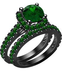 14k black gold over green emerald bridal engagement ring set for womens