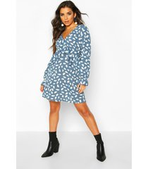 dalmatian print frill smock dress, blue