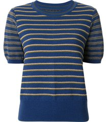 coohem knitted retro wave top - blue