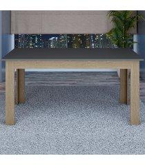mesa de madeira 100% mdf retangular tm23 grafite/carvalho - dalla costa