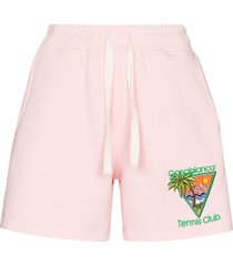 casablanca tennis club embroidered shorts - pink