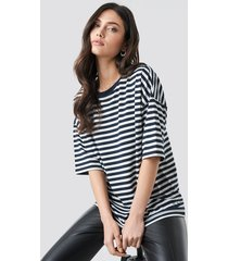 na-kd trend striped oversized viscose tee - multicolor