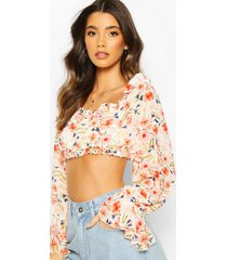 woven floral ruffle off the shoulder crop top, coral