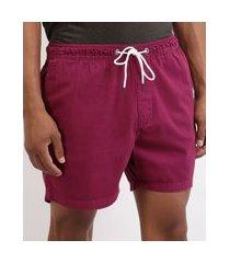 short de sarja masculino básico com elástico rosa escuro