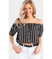 andell stripe off the shoulder blouse - black/white